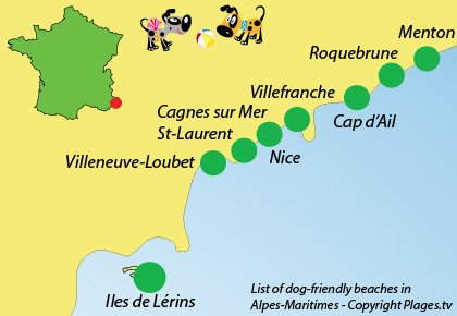 Map of dog-friendly beaches in Alpes Maritimes in France