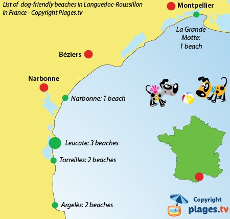 Map of dog-friendly beaches in Languedoc Roussillon in France