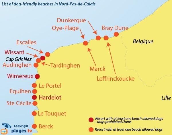 Map of dog friendly beaches in Nord Pas de Calais in France