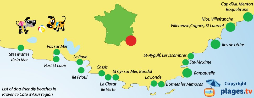 Map of dog-friendly beaches in Provence Cote d'Azur (French Riviera) in France