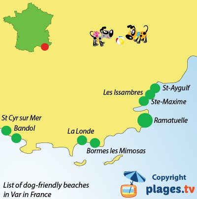 Map of dog friendly beaches in Var in France