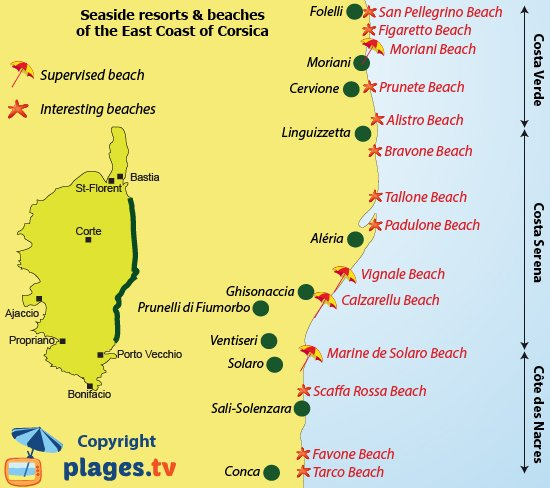 Map of seaside resorts and beaches of the east coast of Corsica
