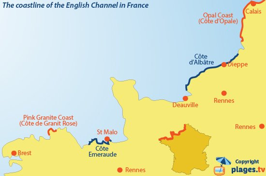 Map Of North France.Beaches And Seaside Resorts Along The English Channel In Northern France