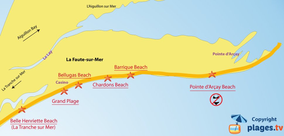 Map of La Faute sur Mer beaches in France