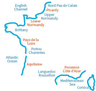 Map of the french beaches