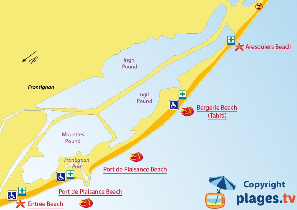 Map of Frontignan beaches in France