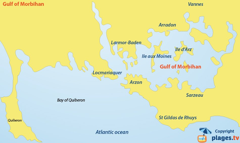 Map of the gulf of Morbihan in France