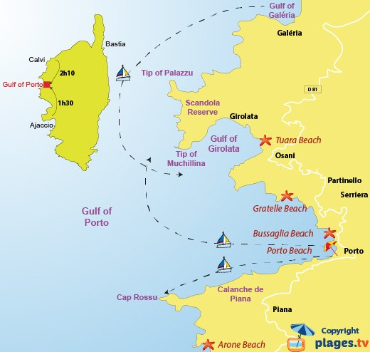 Map of beaches in gulf of Porto in Corsica