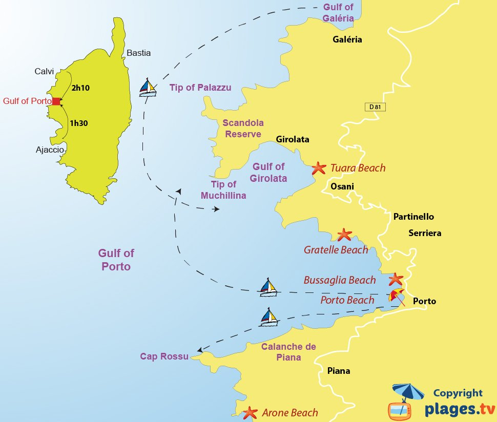 Map of the Gulf of Porto and  the Reserve of Scandola in Corsica