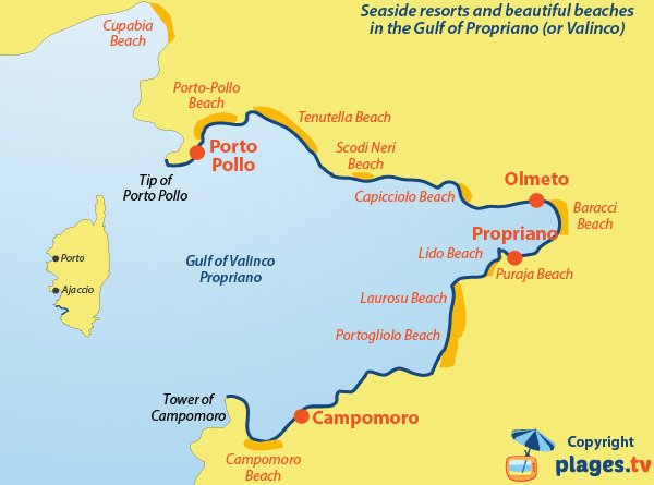 Map of seaside resorts and beaches in the gulf of Propriano - Valinco