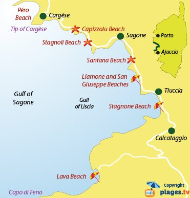 Map of beaches and seaside resorts in the gulf of Sagone - Corsica