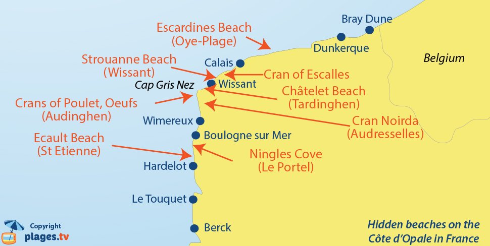 Map of hidden beaches of North of France