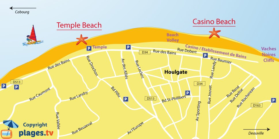 Map of Houlgate beach in Normandy - France