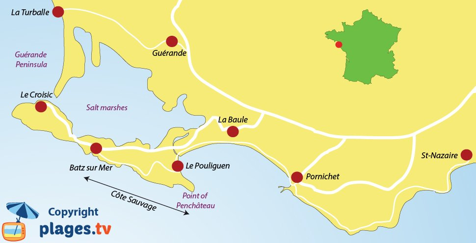 """Map of the """"Côte sauvage"""" in Loire-Atlantique and the neighbouring resorts of """"La Baule"""""""