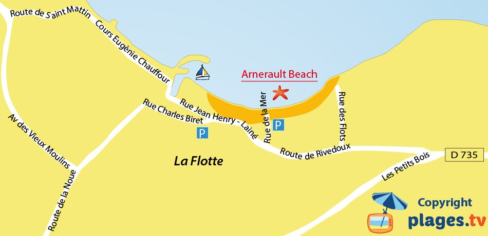 Map of La Flotte beaches in the island of Ré - France