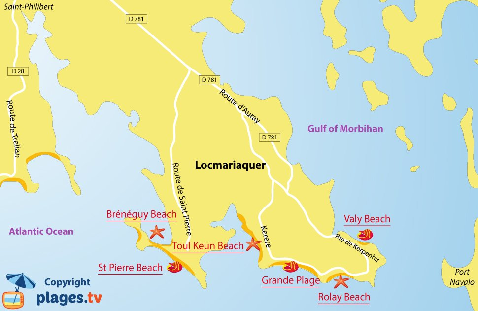 Map of Locmariaquer beaches in Brittany - France