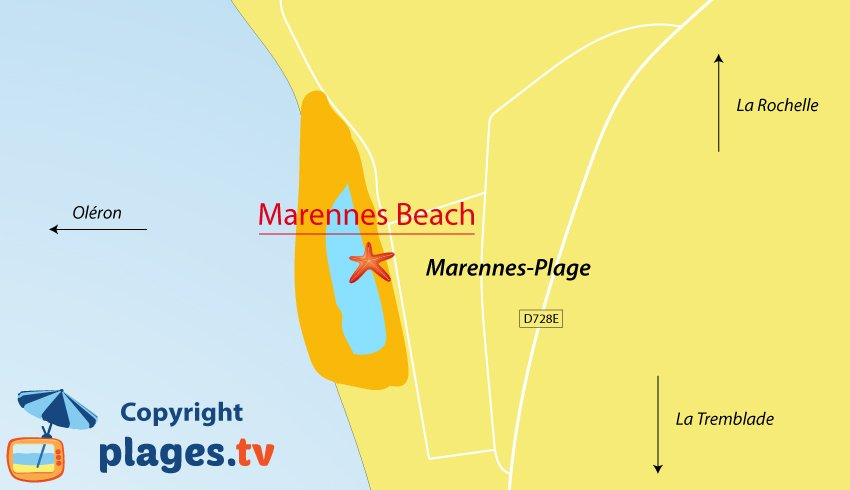 Map of Marennes beaches in France