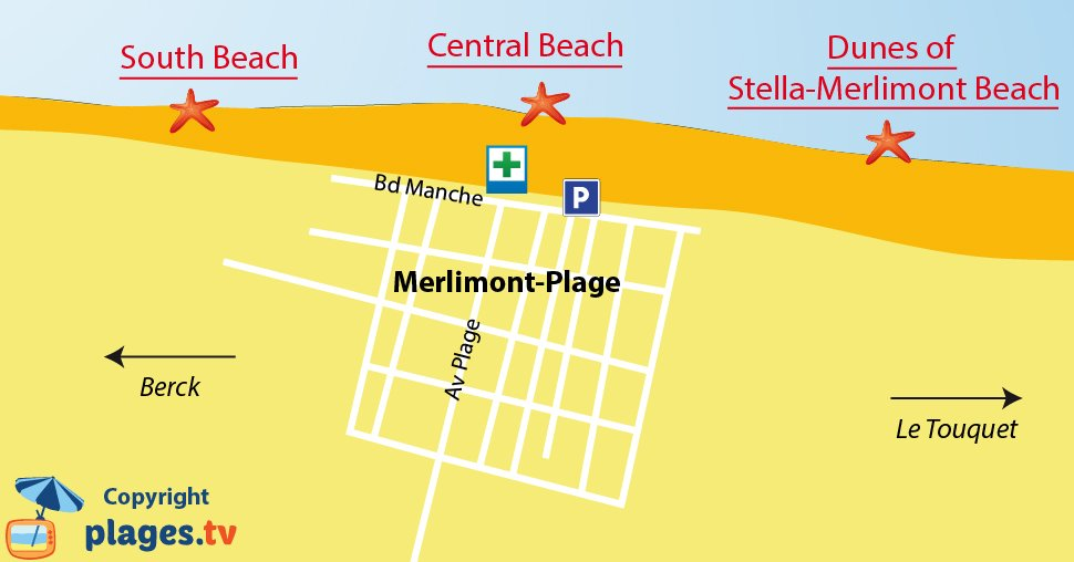 Map of Merlimont beaches in France