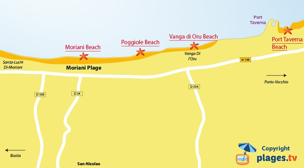 Map of Moriani beaches in Corsica