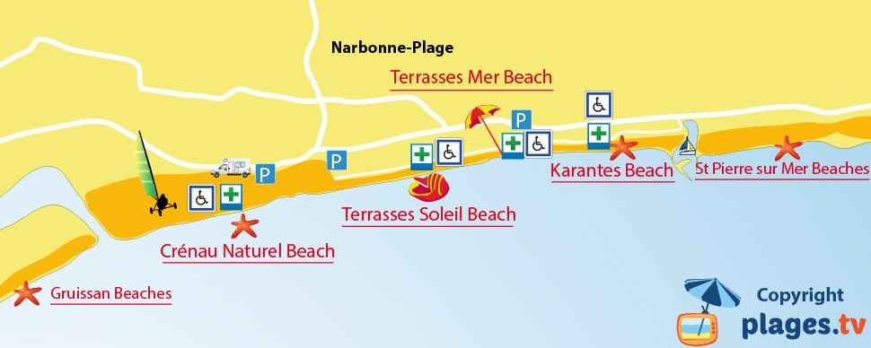 Map of Narbonne beaches in France