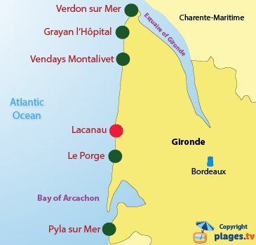 Map of naturist beaches in Gironde in France