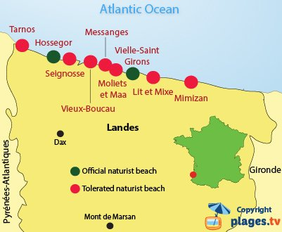 Map of Naturist beaches in Landes in France