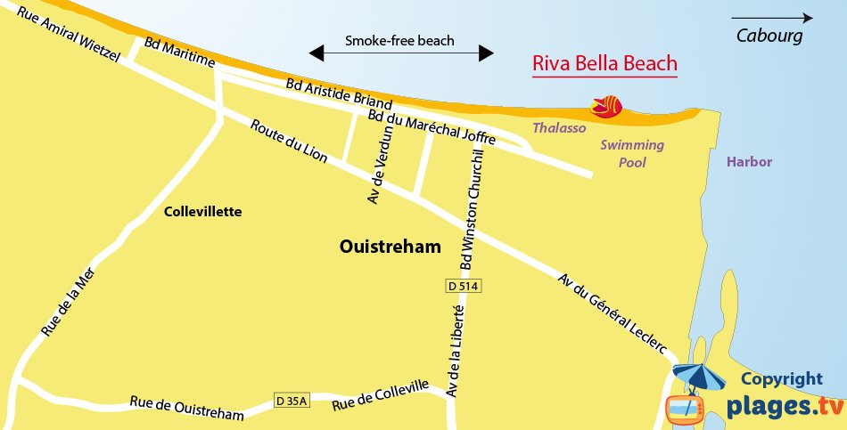 Map of Ouistreham beaches in France - Normandy