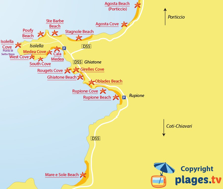 Map of Pietrosella and Isolella beaches in Corsica