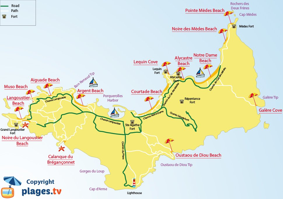 Map of Porquerolles beaches in France