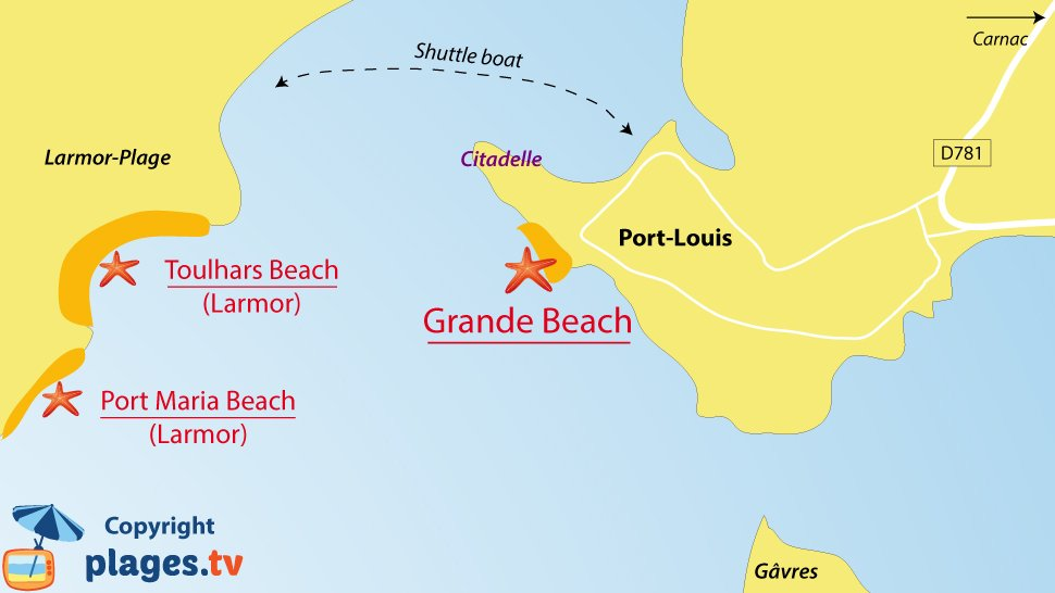 Map of Port Louis beach in Brittany