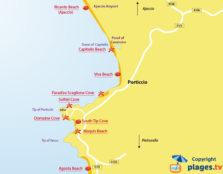 Map of Porticcio beaches in Corsica