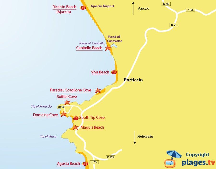 Map of Porticcio beaches in Corsica