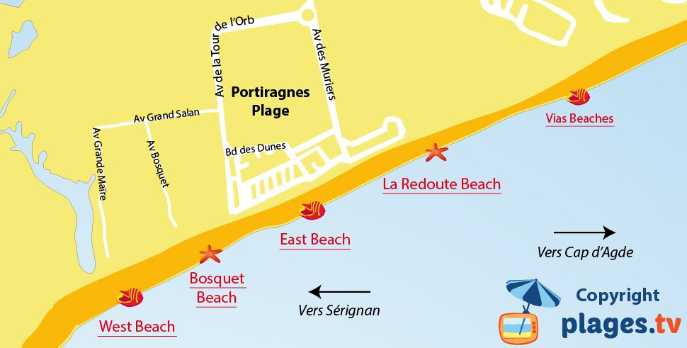 Map of Portiragnes beaches in France