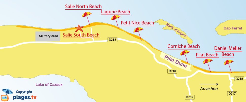 Map of Pyla sur Mer beaches in France
