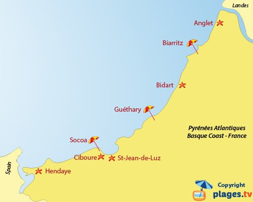 Map of the beaches and seaside resorts in Pyrenees Atlantique in France - Basque coast