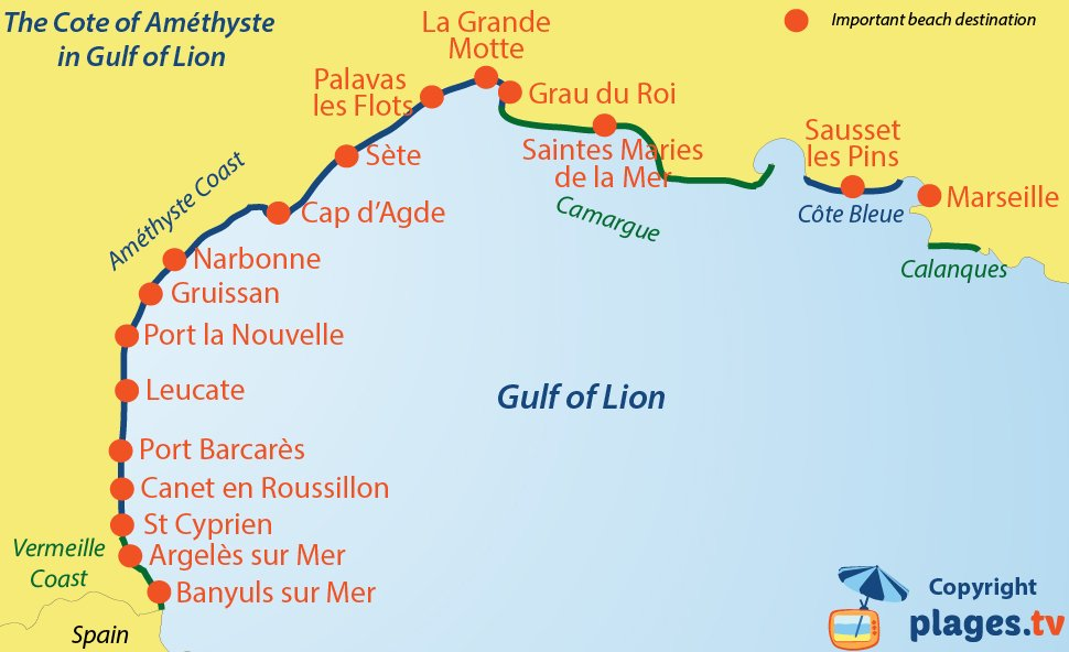Map of seaside resorts and beaches on Cote d'Amethyste in France