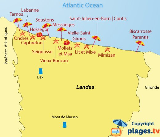 Map of seaside resorts and beaches in Landes department in France