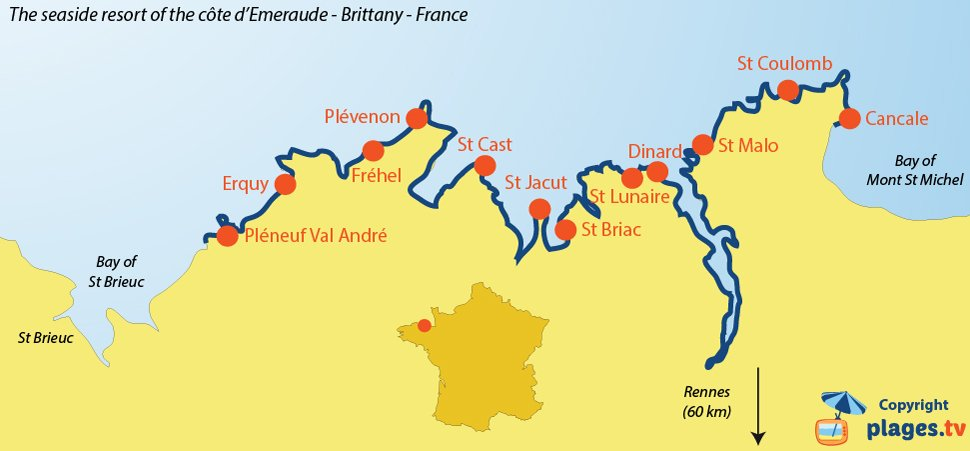 Map of seaside resorts and beaches of the Cote d'Emeraude in Brittany in France
