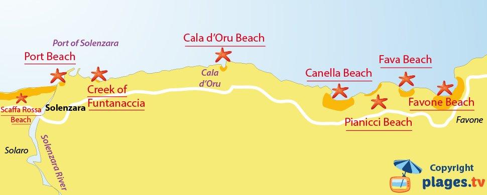 Map of Solenzara beaches in Corsica