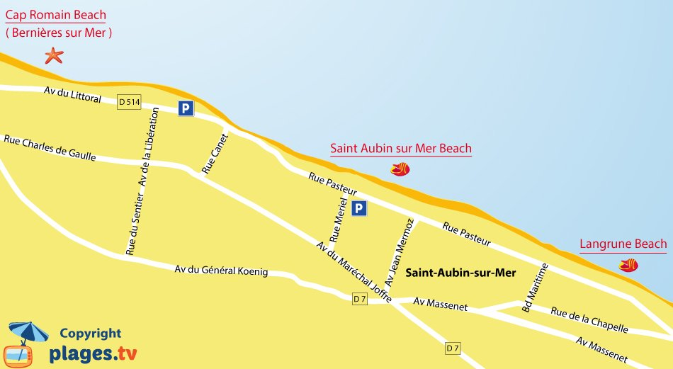 Map of Saint Aubin sur Mer beaches in Normandy