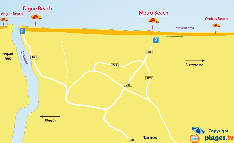 Map of Tarnos beaches in France