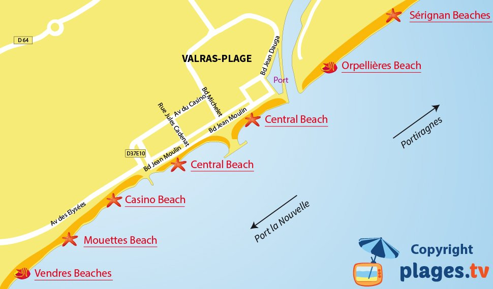 Map of Valras beaches in France