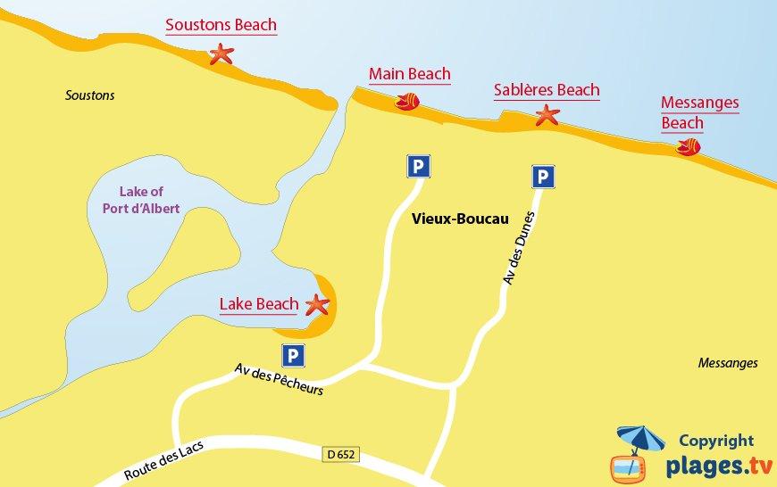 Map of Vieux Boucau beaches in France