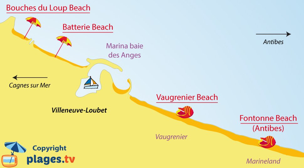 Map of Villeneuve-Loubet beaches - France
