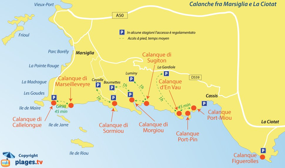 Mappa calanques fra Marsiglia e Cassis in Francia
