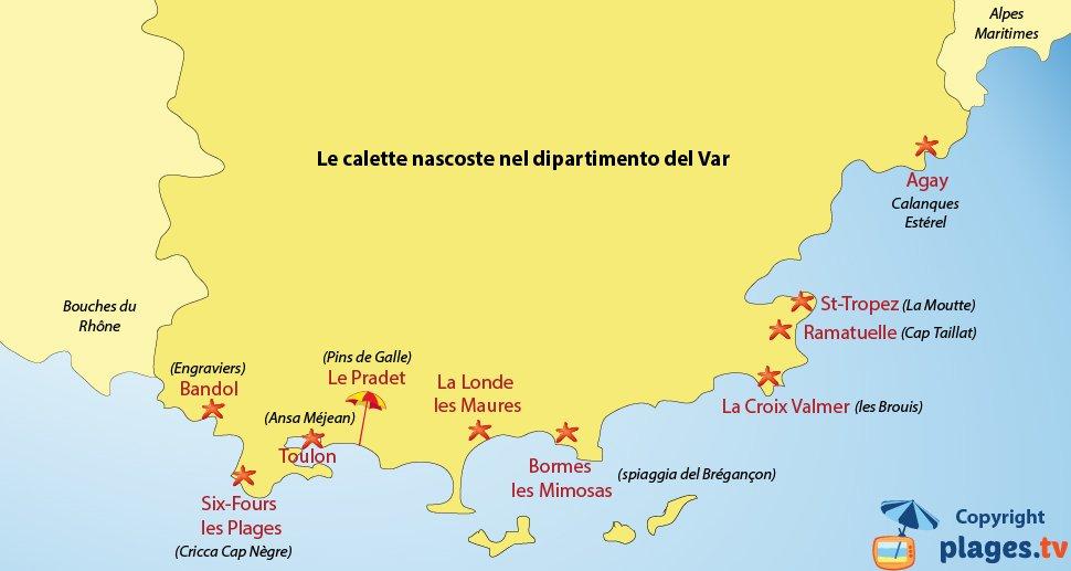 Mappa spiaggia nascoste del Var - Francia