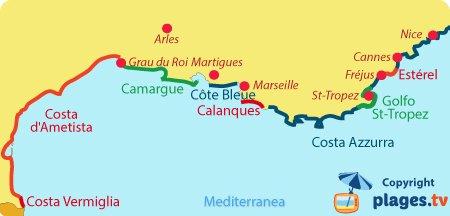 Mappa destinazione balneare della Mediterranea in Francia