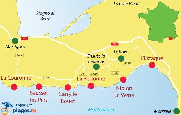 Mappa della Côte Bleue in Francia - Spiagge e destinazione balneare