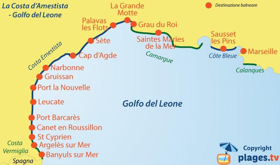 Mappa destinazione balneare nel golfo del Leone in Francia