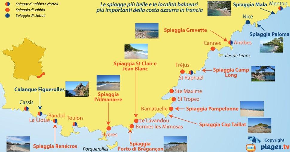 Cartina Geografica Costa Azzurra Francia.Le Spiagge Piu Belle E Le Localita Balneari Piu Importanti Della